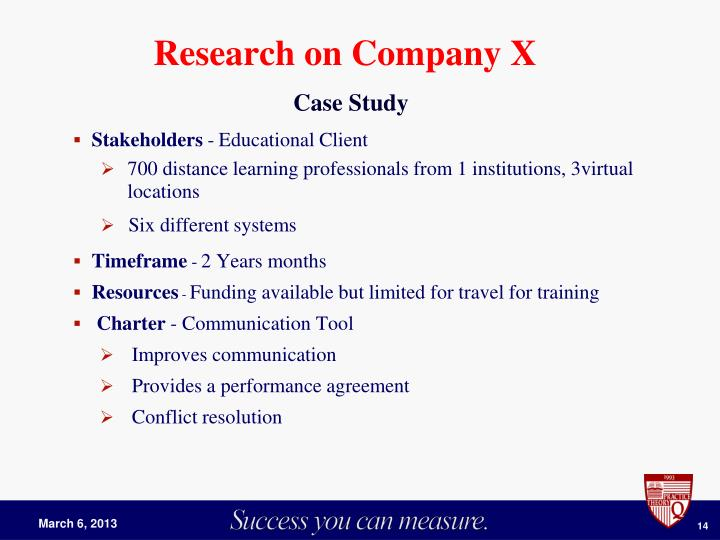 Research on Company X