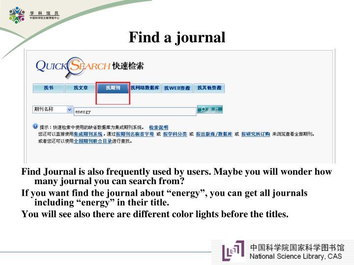 Find a journal
