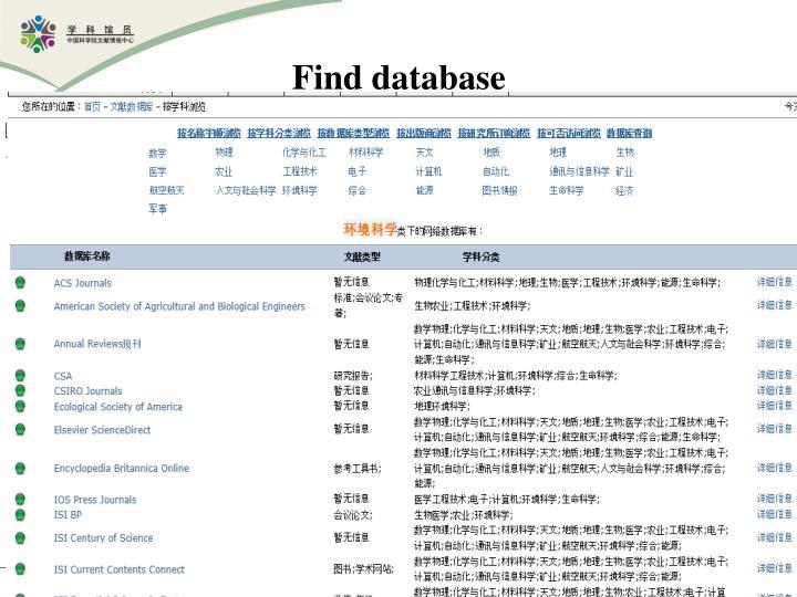 Find database