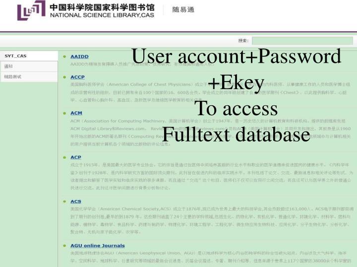 User account+Password