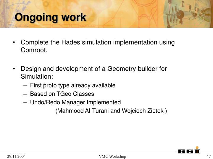 Complete the Hades simulation implementation using Cbmroot.