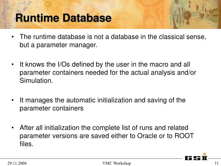 The runtime database is not a database in the classical sense, but a parameter manager.