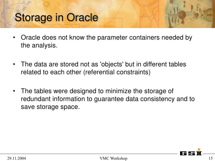 Oracle does not know the parameter containers needed by the analysis.