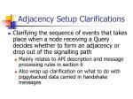 adjacency setup clarifications
