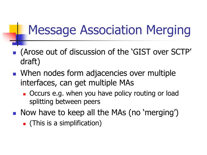 Message Association Merging
