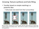 growing texture synthesis and hole filling