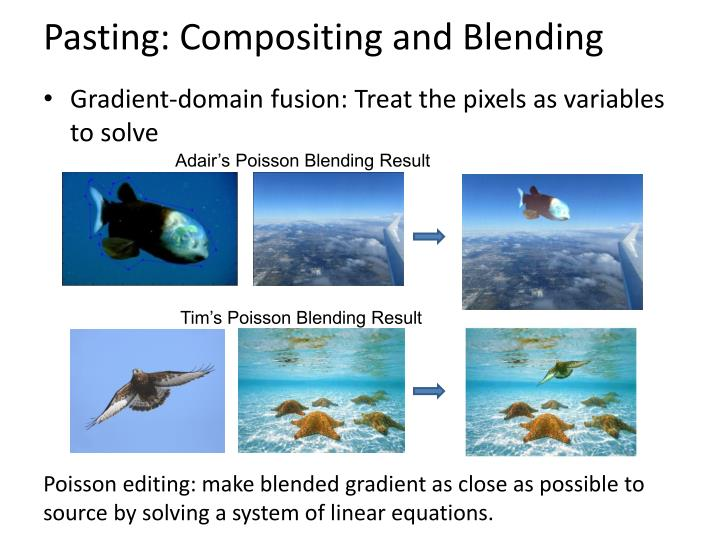 Pasting: Compositing and Blending