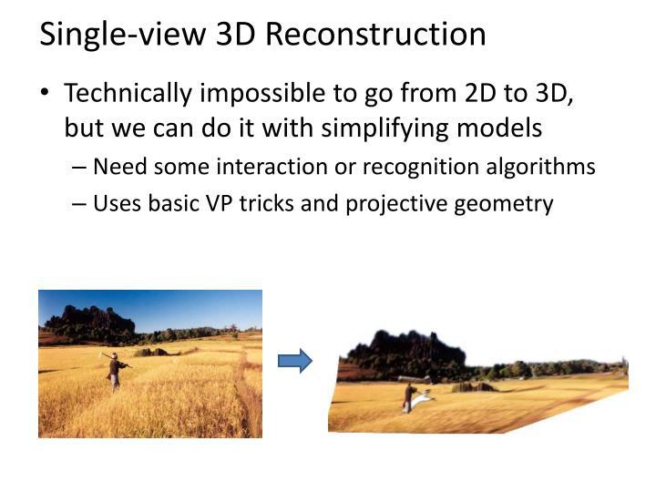 Single-view 3D Reconstruction