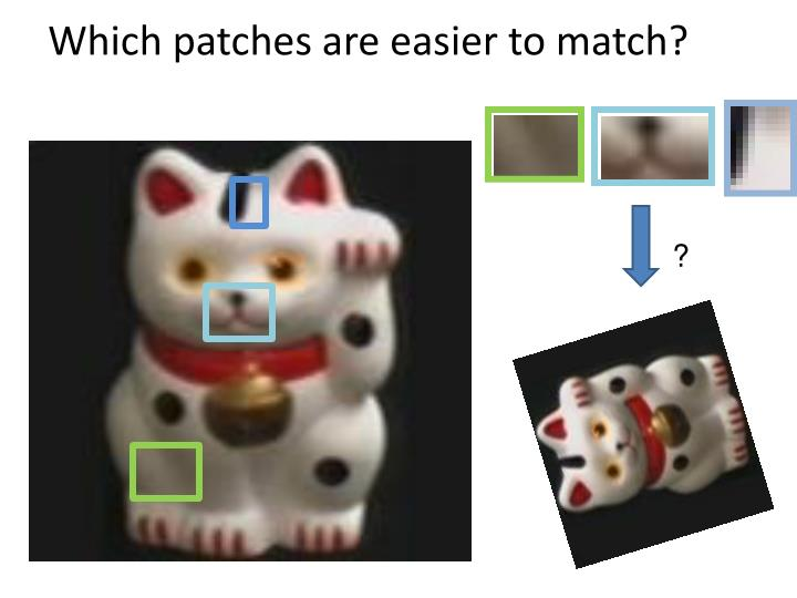 Which patches are easier to match?