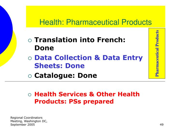Health: Pharmaceutical Products