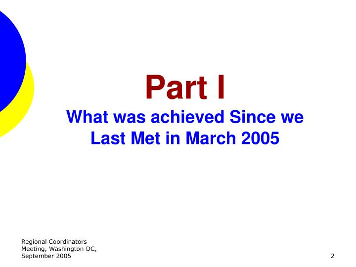Part i what was achieved since we last met in march 2005