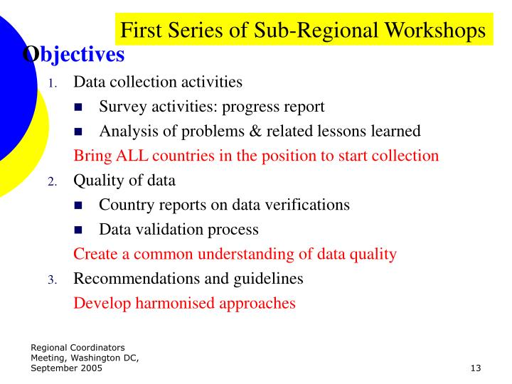 First Series of Sub-Regional Workshops