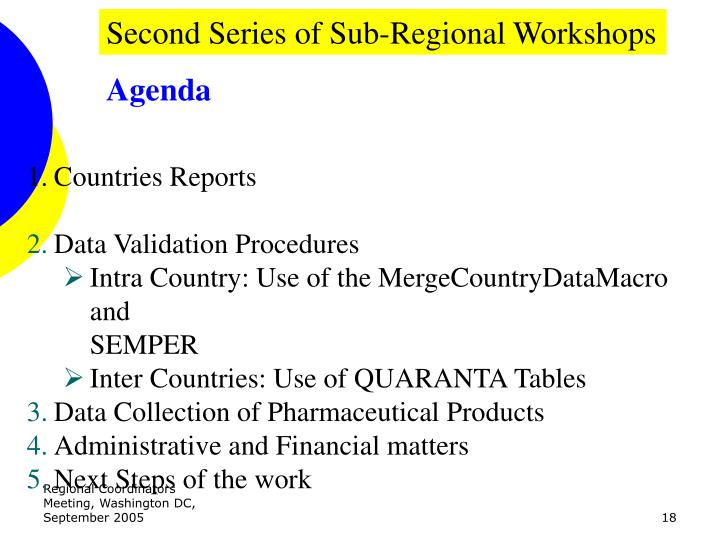 Second Series of Sub-Regional Workshops