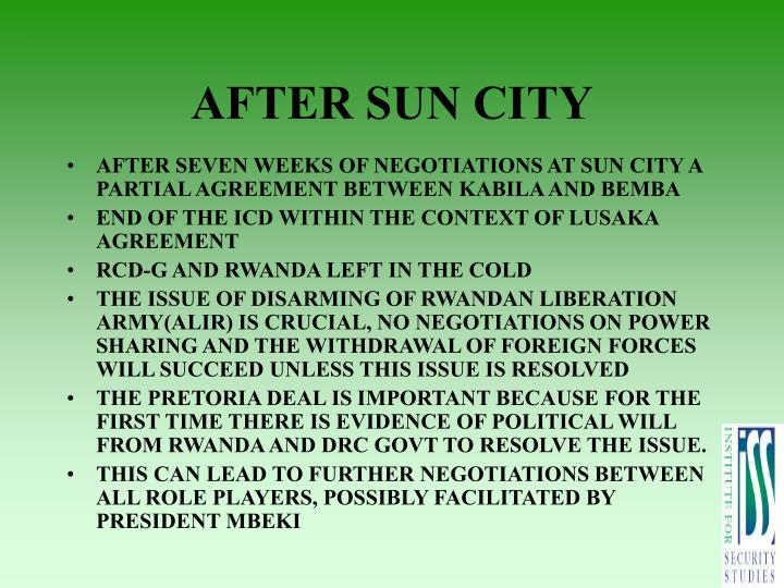 AFTER SUN CITY