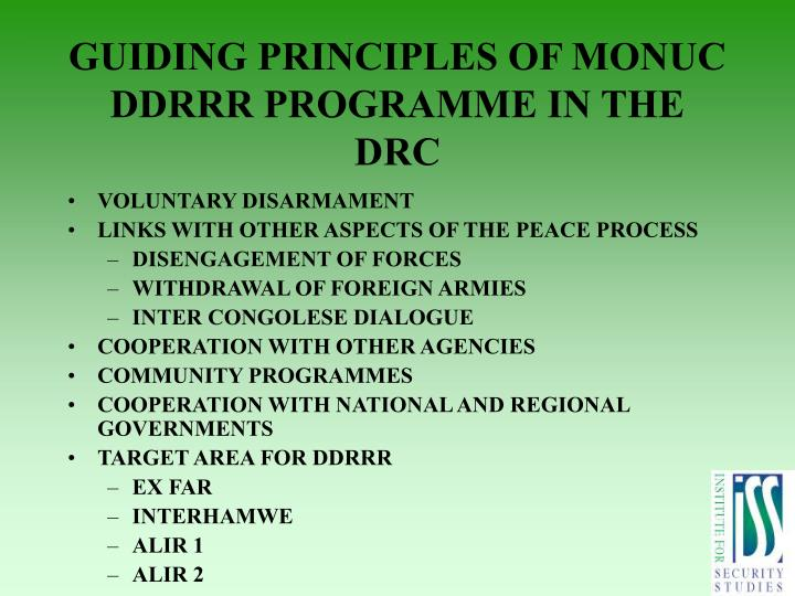 GUIDING PRINCIPLES OF MONUC DDRRR PROGRAMME IN THE DRC