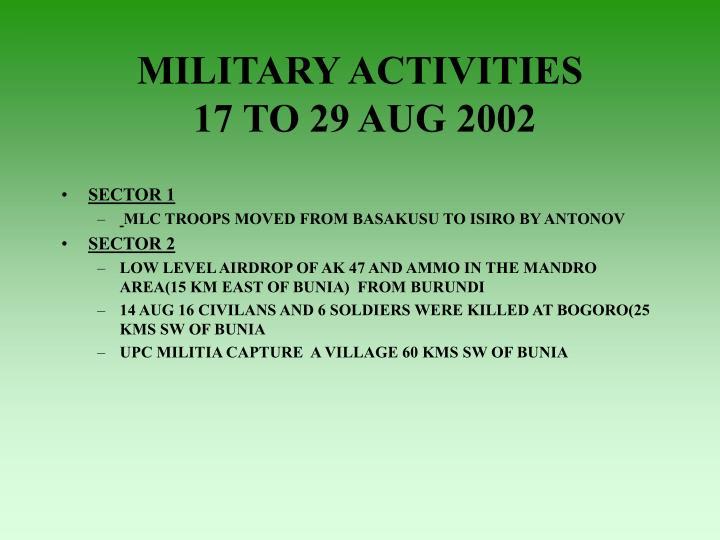 MILITARY ACTIVITIES
