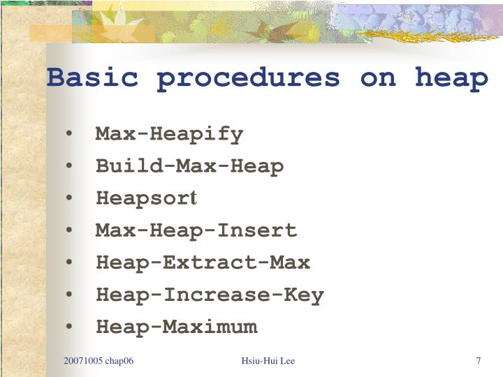 Basic procedures on heap