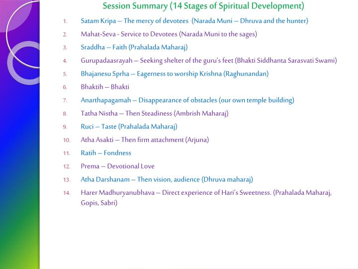Session Summary (14 Stages of Spiritual Development)