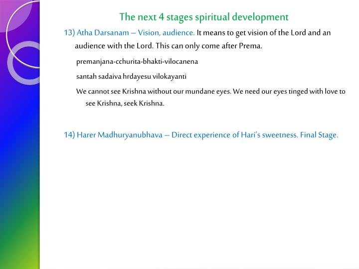 The next 4 stages spiritual development