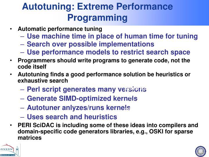 Autotuning: Extreme Performance Programming