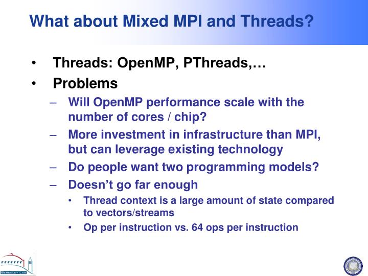 What about Mixed MPI and Threads?