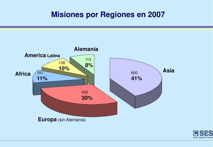 Misiones por Regiones en 2007