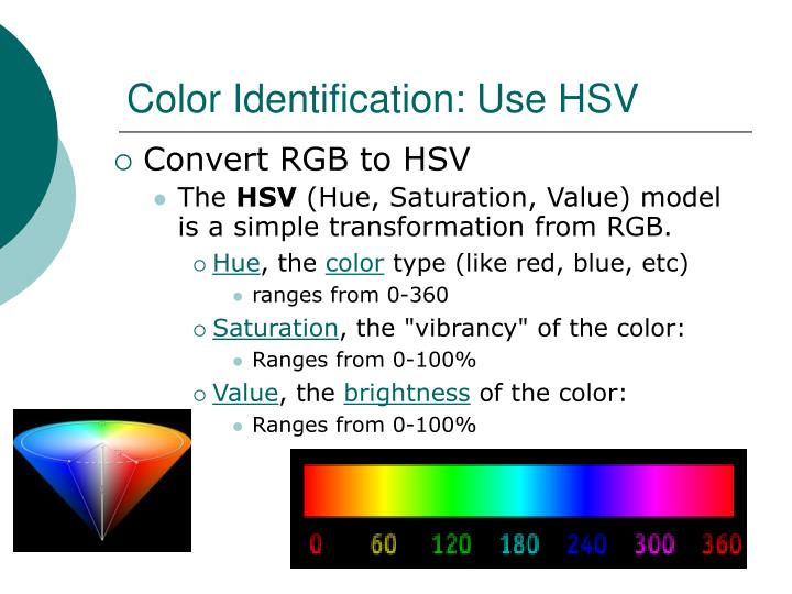Color Identification: Use HSV