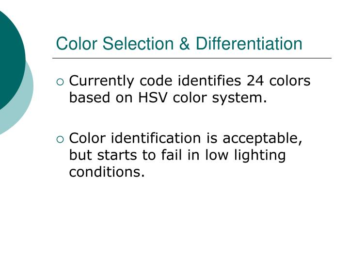 Color Selection & Differentiation