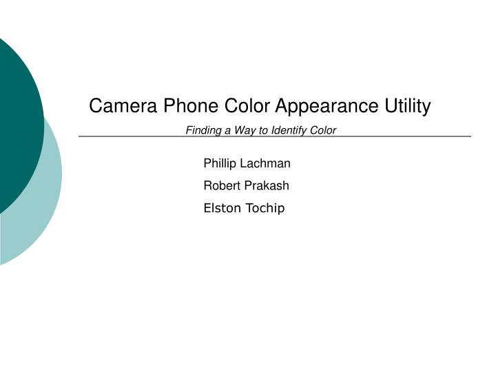 Camera Phone Color Appearance Utility