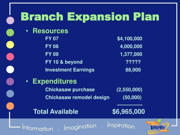 Branch Expansion Plan