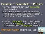 puritans separatists pilgrims