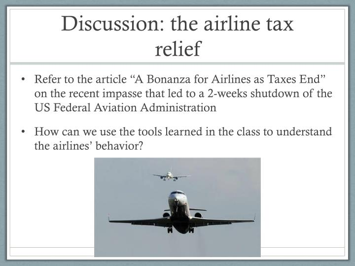 Discussion: the airline tax relief