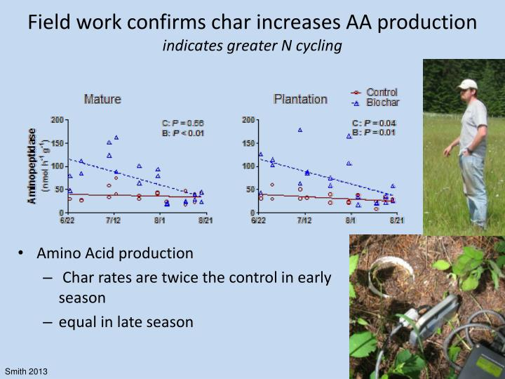Field work confirms char increases AA production