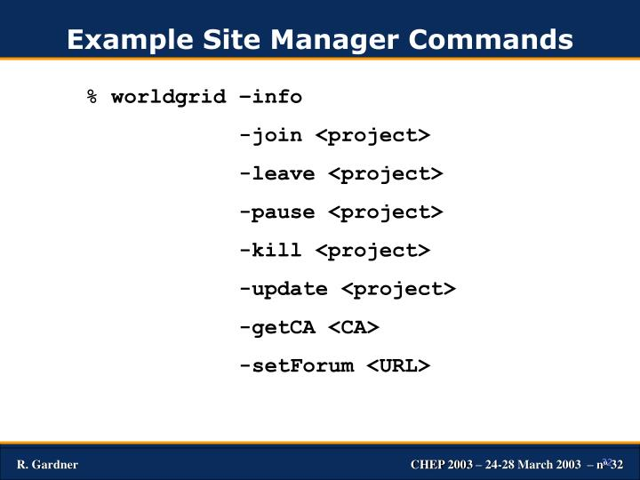 Example Site Manager Commands