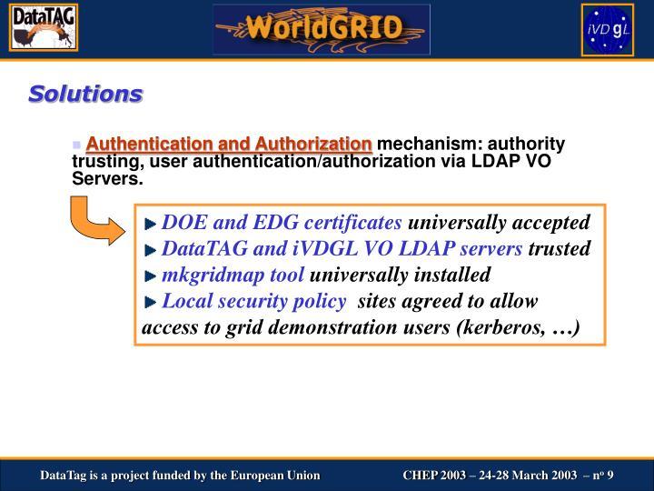 DOE and EDG certificates