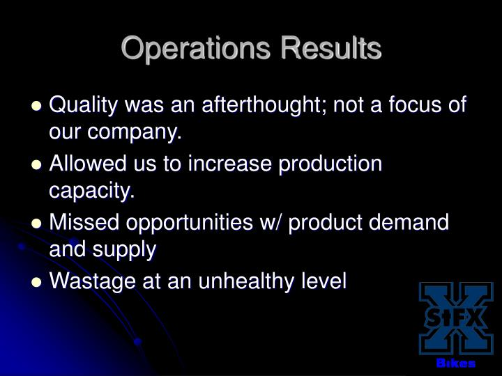 Operations Results