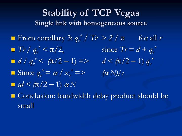 Stability of TCP Vegas