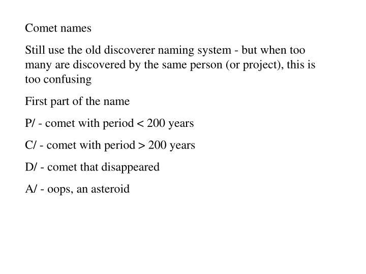 Comet names