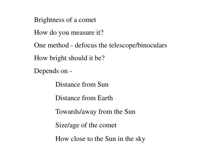 Brightness of a comet