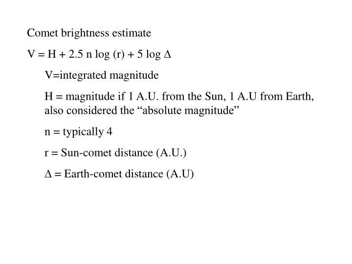 Comet brightness estimate