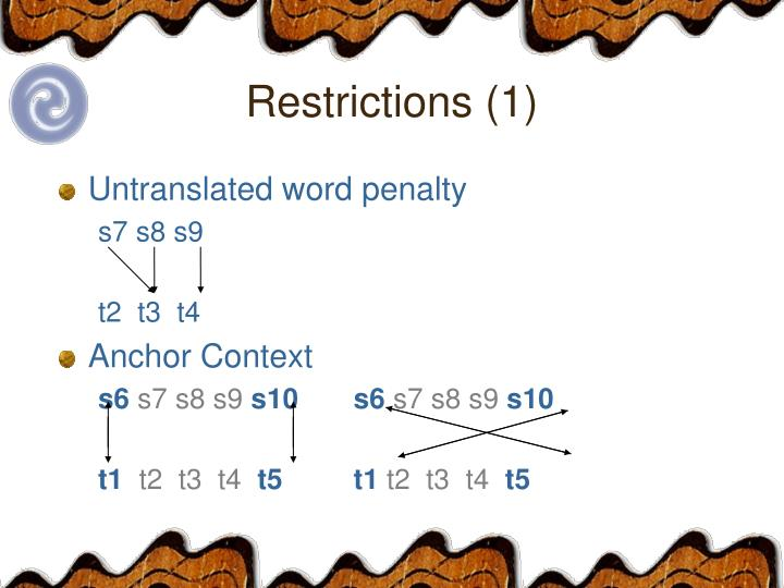 Restrictions (1)