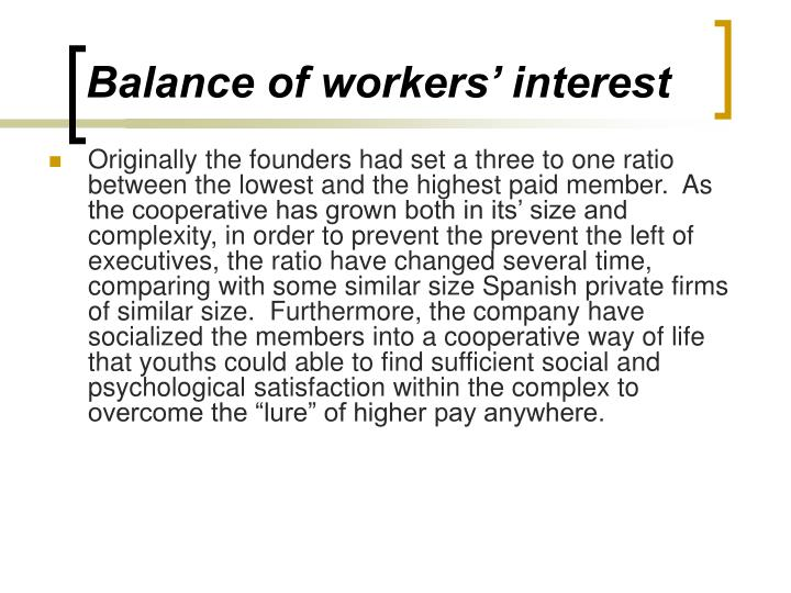 Balance of workers' interest