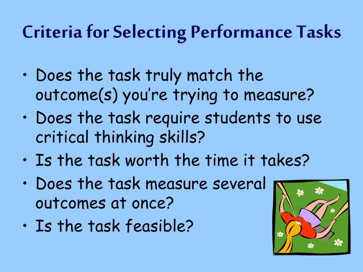 Criteria for Selecting Performance Tasks