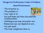 designs for performance tasks a problem based performance
