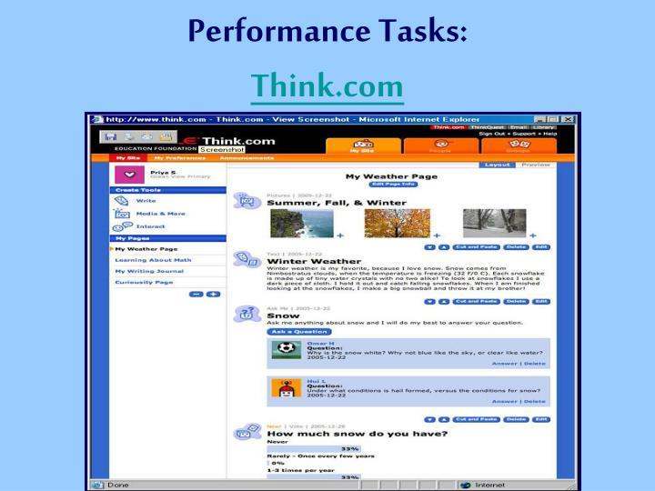Performance Tasks: