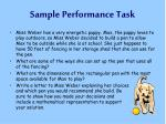 sample performance task