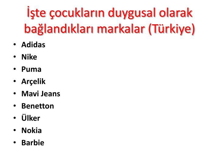 İşte çocukların duygusal olarak bağlandıkları markalar (Türkiye)