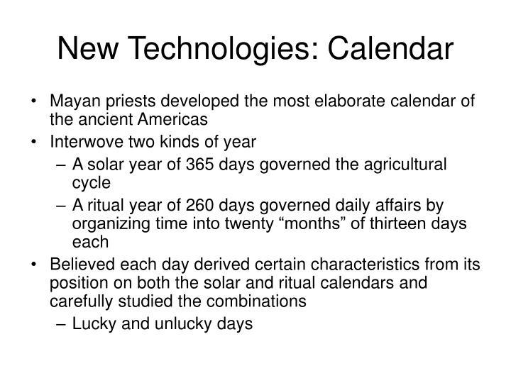 New Technologies: Calendar