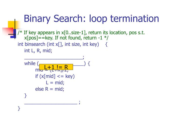 Binary Search: loop termination