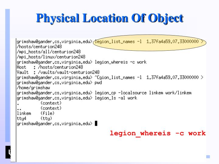 Physical Location Of Object